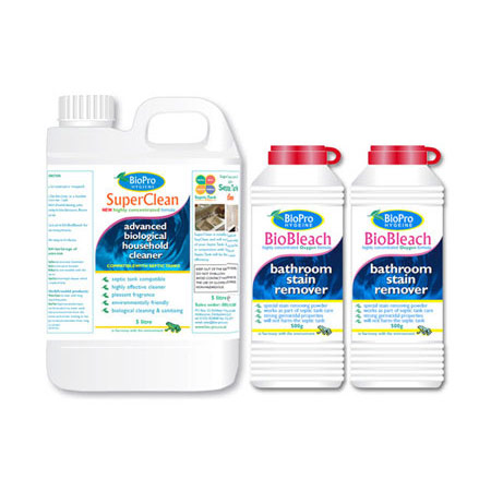 SuperClean & BioBleach Bathroom and Kitchen Cleaning Products Bundle